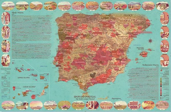 Wine Map of Spain and Portugal, The World's Largest Vineyard